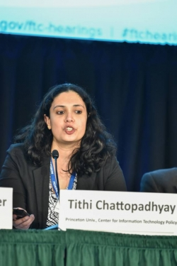 Tithi Chattopadhyay speaking as part of a panel of speakers at the Federal Trade Commission.