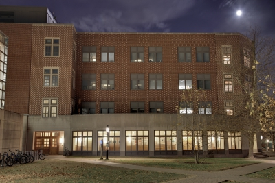 Computer Science building at night