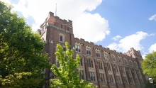 View from outside looking at Guyot Hall.