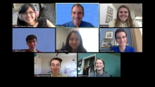 Screen shot of a Zoom meeting with eight people.  Alan Kaplan and seven students.