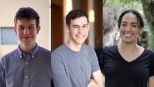 Three photos of Ron Miasnik, Joseph  Rubin, and Raya Ward.