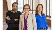 Photo of Professor Margaret Martonosi (center) and graduate students Yatin Manerkar (left) and Caroline Trippel