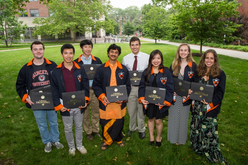Students receiving the prize for Outstanding Computer Science Senior Thesis gather