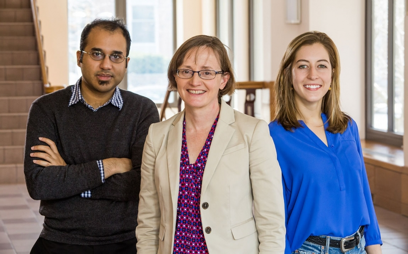 Photo of Professor Margaret Martonosi with graduate students Yatin Manerkar and Carline Trippel