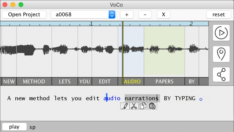 Screenshot of the VoCo audio editing system