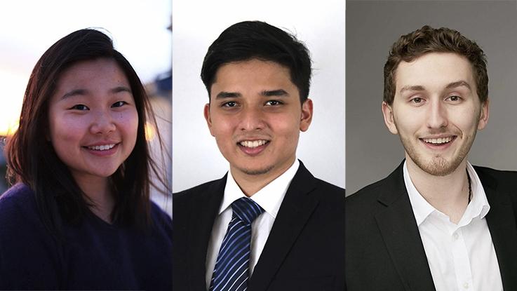 Three photos of Ilene E, Arjun Sai Krishnan, and Austin Mejia.