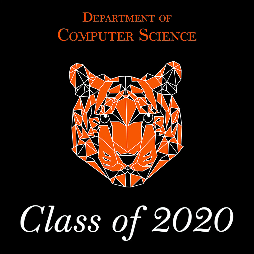 Graphic of illustrated orange and black tiger head with text that reads, Department of Computer Science. Class of 2020.