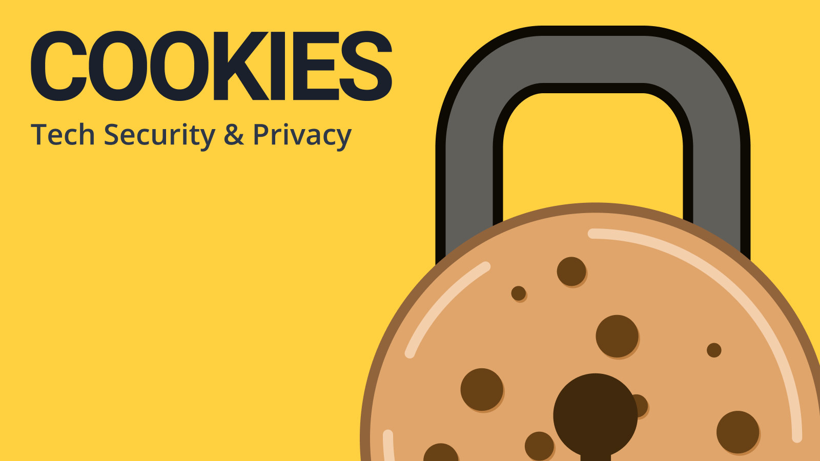 "Simple illustration of a chocolate chip cookie with a metal padlock top and keyhole.  The text next to the cookie padlock reads ""Cookies, tech security and policy""."