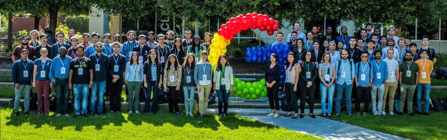 Outdoor photo of Google and FLIP Alliance Fellows attending the 2019 PhD Fellowship Summit.