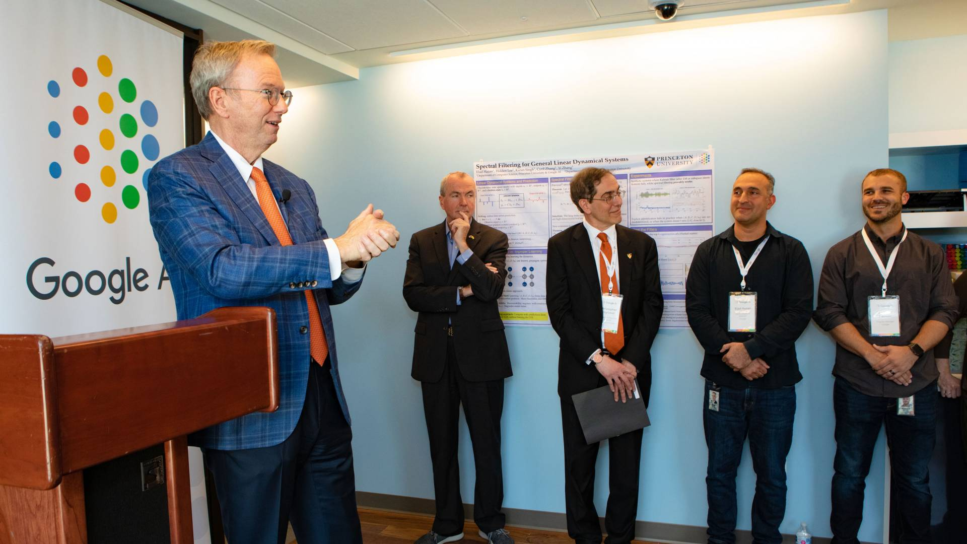 Former Google chairman and executive CEO Eric Schmidt, a Princeton alumnus, speaks at the formal launch of the Google AI Princeton lab on May 2, while New Jersey Gov. Phil Murphy, President Christopher L. Eisgruber, Professor of Computer Science Elad Haza