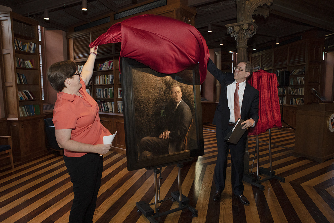 The Alan Turing portrait was unvieled by University President Christopher L. Eisgruber and Professor Jennifer Rexford before an audience in Chancellor Green.