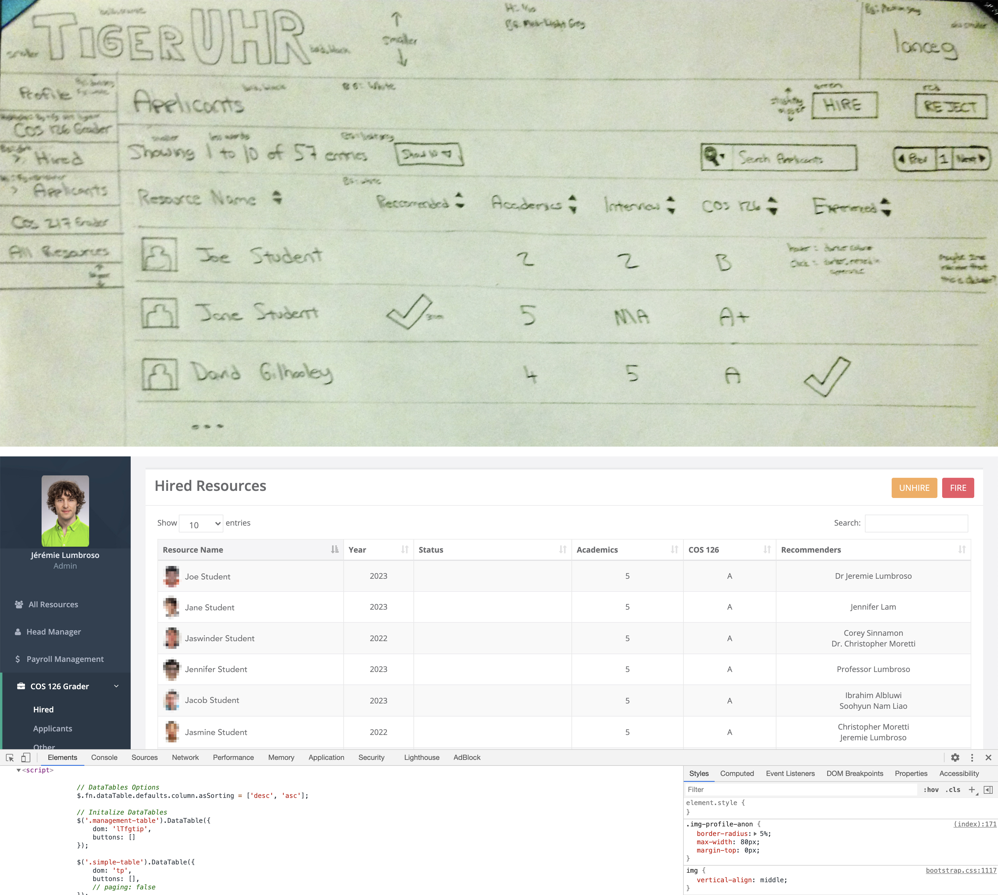Two images stacked on top of each other.  Top image is a photo of a hand drawn draft by Lance Goodridge of the TigerUHR site layout.  Bottom image is a screen shot of the actual TigerUHR website from the view of an admin.
