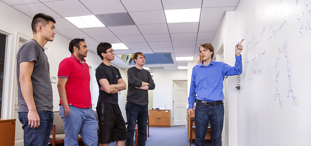 Mark Zhandry with students Fermi Ma, Auyush Jain, Qipeng Liu, and James Bartusek.